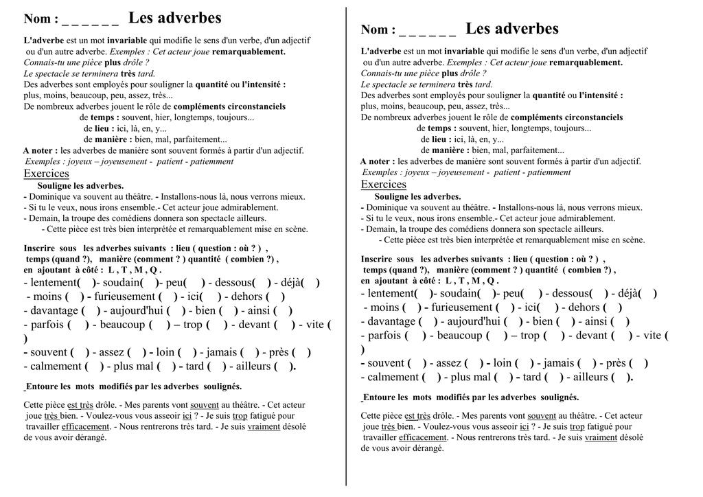 45 Adverbes Lecon Et Exercices