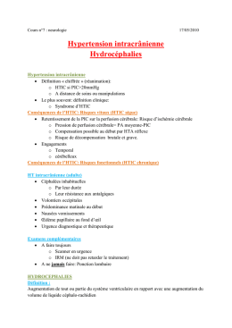 Cours 7 Hypertension intracranienne, hydrocephalies