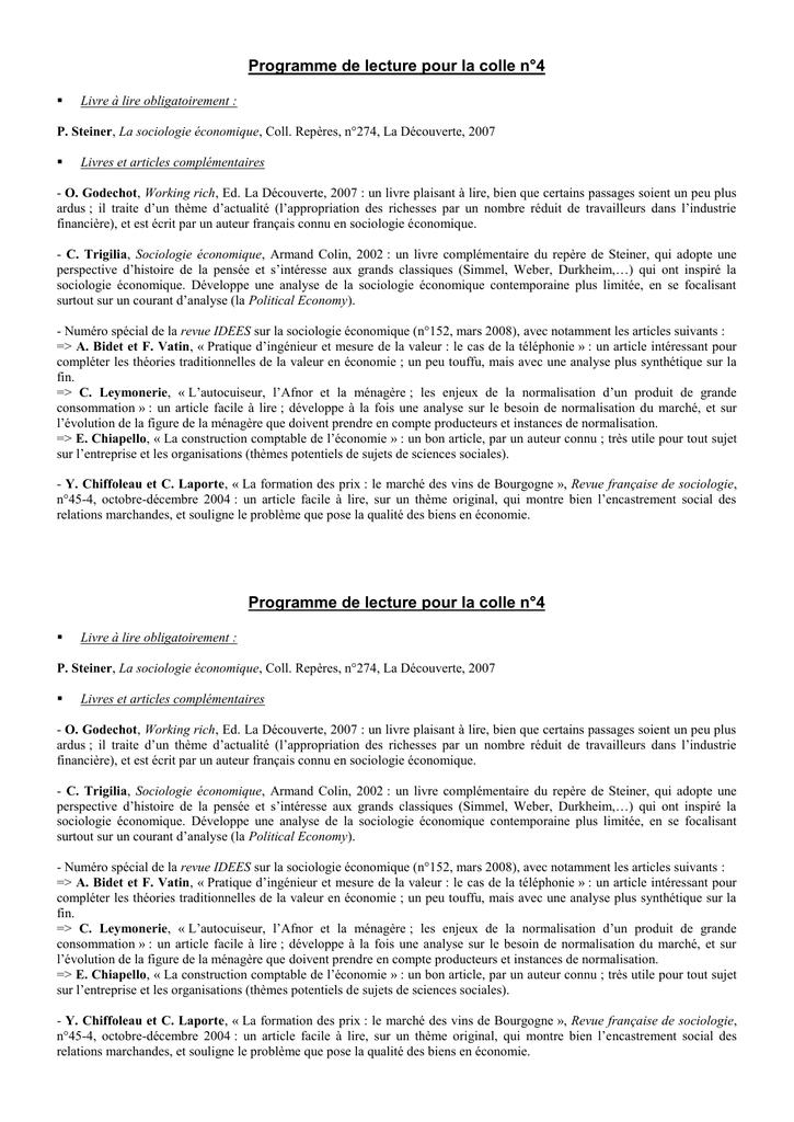 Programme De Lecture Pour La Colle N 4 Livre A Lire