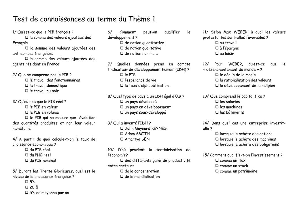 Test De Connaissances Au Terme Du Theme 1