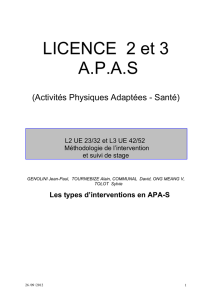 Les types d`interventions en APA-S