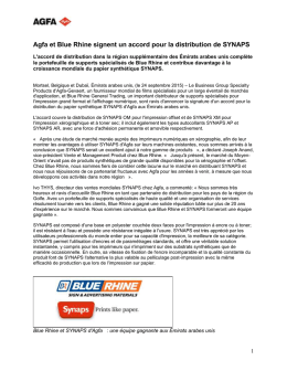 Agfa et Blue Rhine signent un accord pour la distribution de
