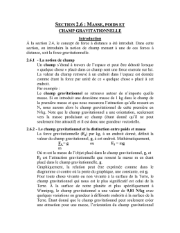 Section 2.6 : Masse, poids et champ gravitationnelle Introduction À