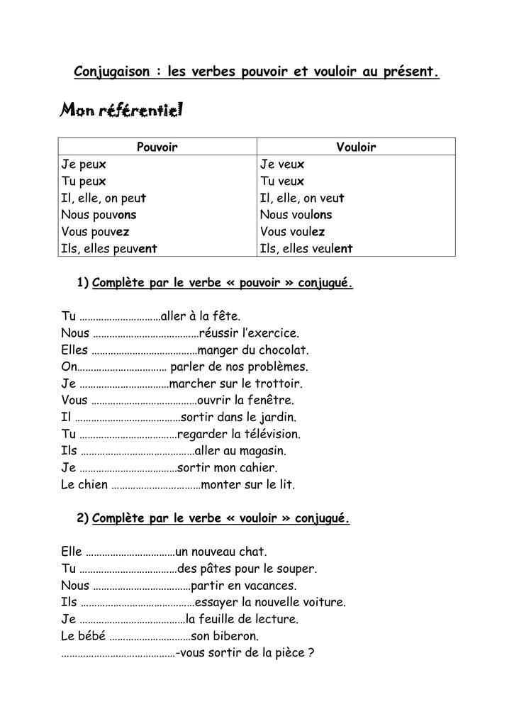 Conjugaison Les Verbes Pouvoir Et Vouloir Au