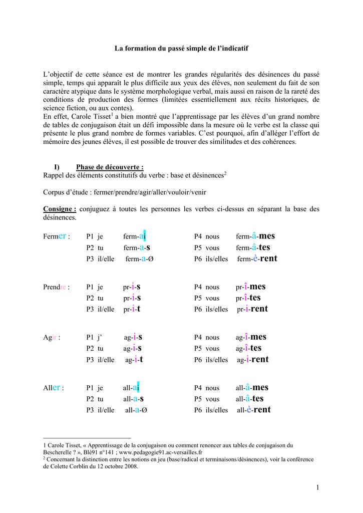 La Formation Du Passe Simple De L Indicatif