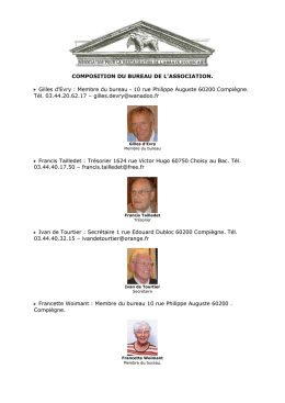 COMPOSITION DU BUREAU DE L`ASSOCIATION POUR LA