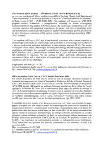 Post-doctoral fellow position - Unité Inserm U1019