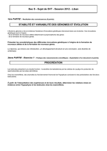 Bac S - Sujet de SVT - Session 2012