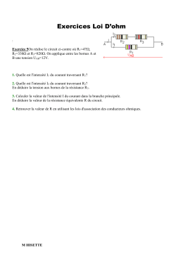 Exercices Loi D`ohm : Exercice 5On réalise le circuit ci