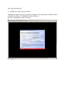 TD1 – Installation d`oracle 10g sous windows