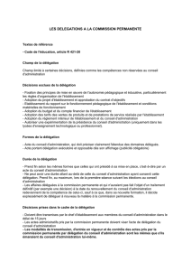 Délégation à la commission permanente