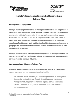 Feuillet d`information sur la publicité et le marketing de Patinage Plus