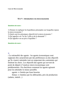 TD n°1 : Introduction à la micro-économie
