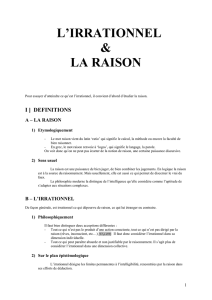L`IRRATIONNEL ET LA RAISON