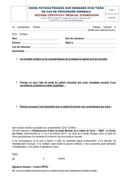 Procédure normale - 2nd certificat médical d`admission