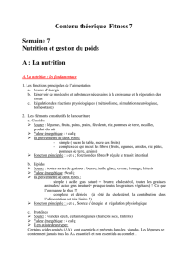 A : La nutrition - Knowledge