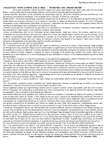 Psychologie de l`éducation / Doc. 9 L`EDUCATION, PORTE
