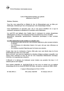 Lettre d`information pour patients sou anti-TNF