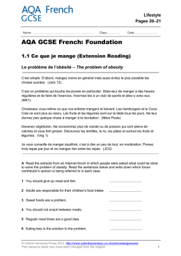 AQA GCSE French: Foundation 1.1 Ce que je mange (Extension