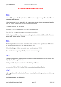 Chiffrement et authentification - Notions informatique