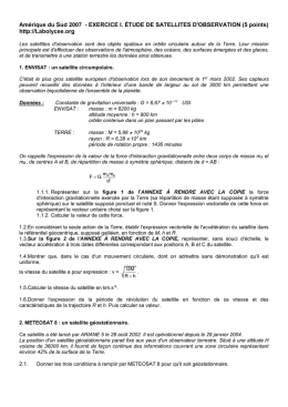 EXERCICE I étude de satellites d`observation 5 points