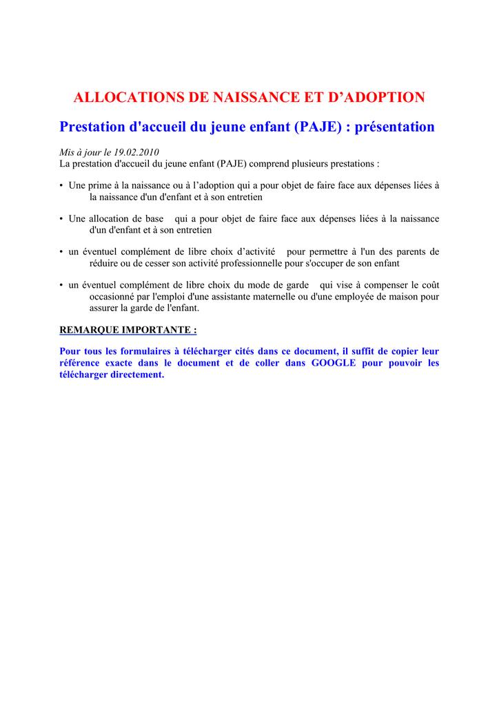 Allocations De Naissance Et D Adoption Prestation D