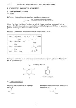 i] synthese et hydrolyse des esters