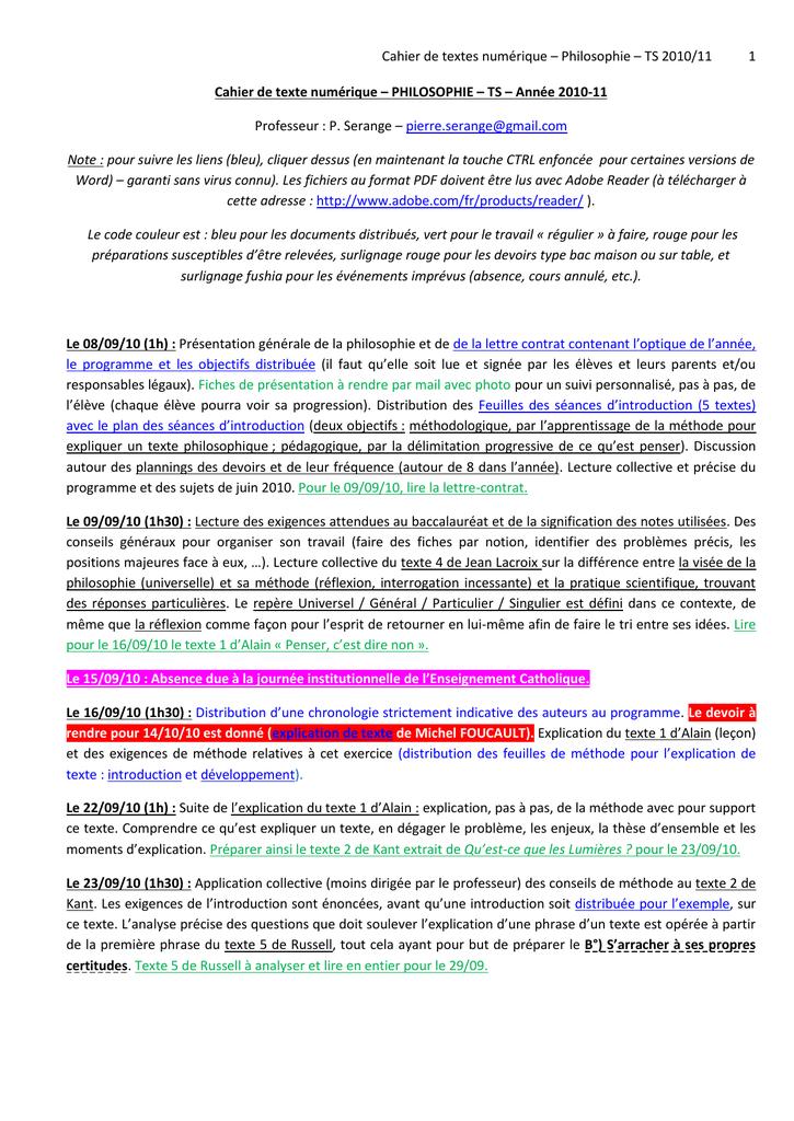 Explication De Texte En Philo Exemple - Exemple de Groupes