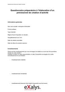 Questionnaire élaboration Business Plan