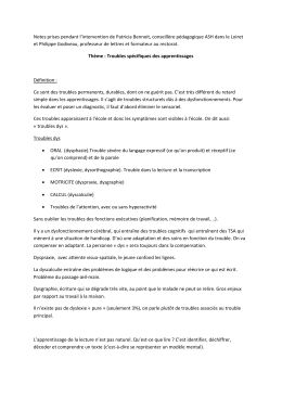 Notes prises pendant l`intervention de Patricia Bennoit, conseillère