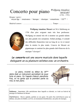 Feuille d`Audition - Mozart