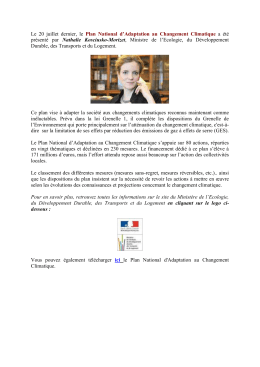 Plan National d`Adaptation au Changement Climatique (2.08.2011)