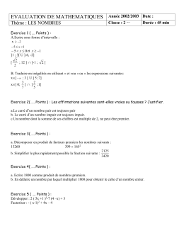 EVALUATION DE MATHEMATIQUES