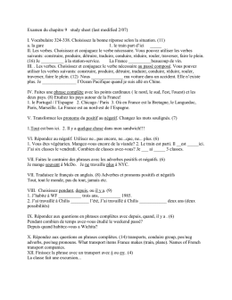 Examen du chapitre 9 study sheet (last modified 2/07) I. Vocabulaire