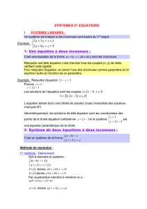 SYSTEME D` EQUATIONS