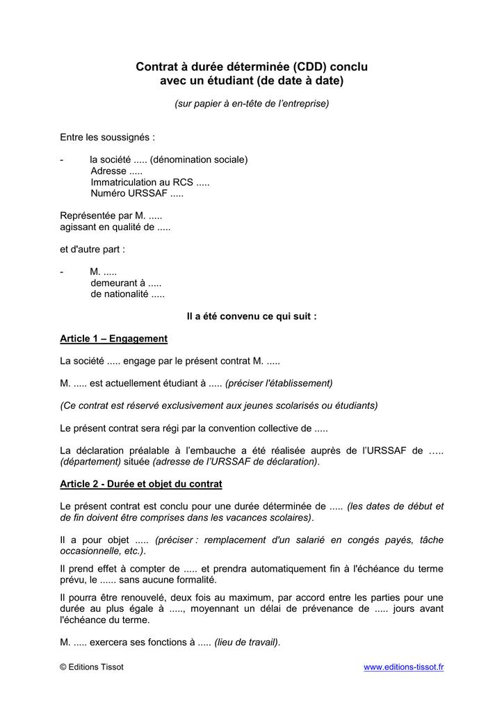 Contrat A Duree Determinee Cdd Conclu