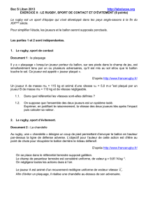 Exercice II Le rugby, sport de contact et d`évitement (8 points)