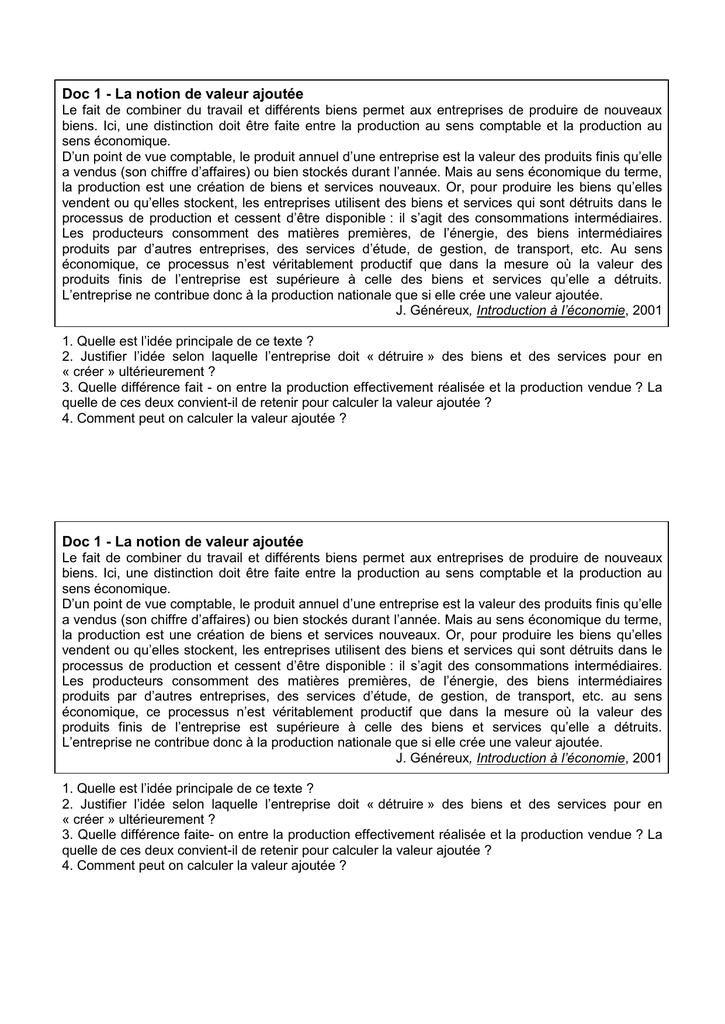 Doc 1 La Notion De Valeur Ajoutee Le Fait De Combiner Du Travail Et