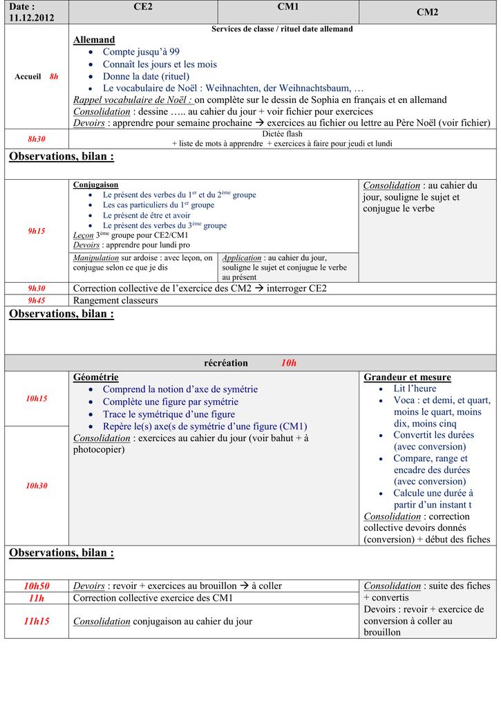 Exemple de cahier journal pour une classe multi