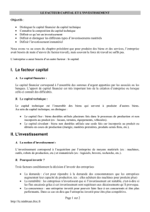 Le facteur capital et l`investissement - Ecogestion26