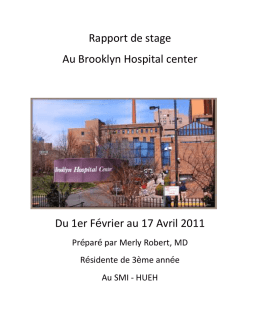 Rapport de stage Au Brooklyn Hospital center Du 1er Février au 17