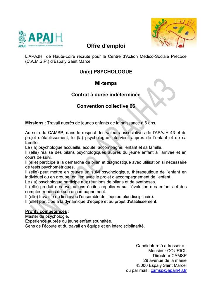 Offre D Emploi L Apajh De Haute Loire Recrute Pour Le Centre D