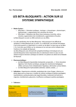 Fixe : Pharmacologie Mme Queuille : 24.02.09 LES BETA