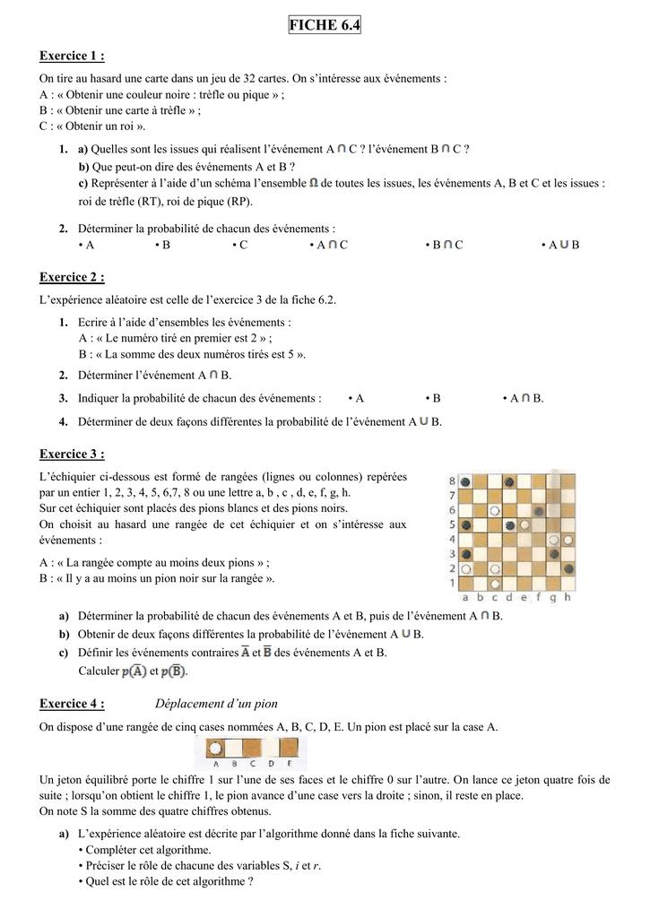 on tire au hasard une carte dans un jeu de 32 cartes FICHE 6.4 Exercice 1 : On tire au hasard une carte dans un jeu de