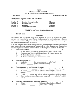 CBSE FRENCH SAMPLE PAPER –I Class IX Summative