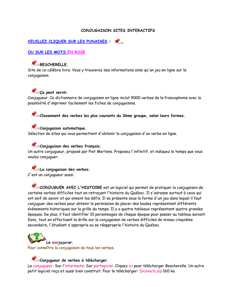 Conjugaison Sites In