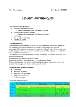 Fixe : Pharmacologie Mme Queuille : 04.03.09 LES ANTI