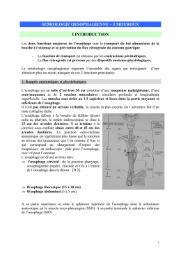 SEMIOLOGIE OESOPHAGIENNE – J MOUROUX I INTRODUCTION