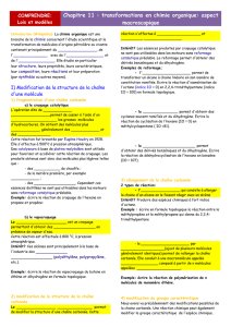 Chapitre 11 : transformations en chimie organique: aspect