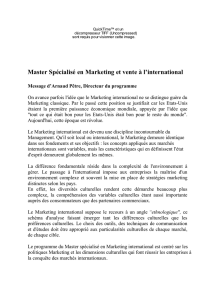 Master Spécialisé en Marketing et vente à l`international Message d